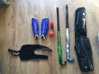 Complete hockey kit, TK S4 stick + second stick, bag, pads and knee brace. Expensive stick new