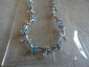 Brand new with tags women's silver tone blue rhinestone necklace London Ontario image 2