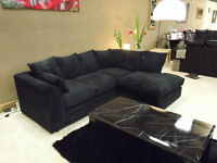 UK EXPRESS DELIVERY | DYLAN JUMBO BLK CORNER SOFA | 1 YEAR WARRANTY | SPRING BASE