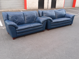 Navy Blue Leather 2&3 Seater Sofas (👍very good condition)