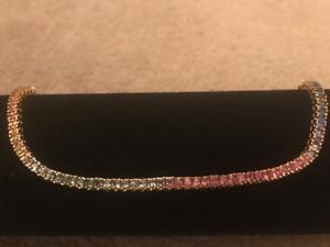 14K Yellow Gold & Sapphire Tennis Bracelet