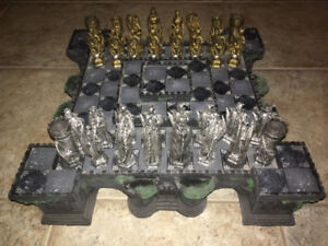 Elevated Chess set with built in storage.  Gothic style,like new
