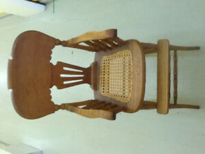 Vintage Child's  High Chair with Caned Seat