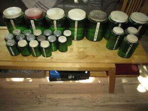 OVID GREEN & CLEAR HOOSIER CABINET CUPBOARD JARS