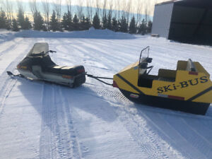 2 snowmobiles and passenger sleigh package for sale