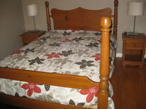 Handcrafted Pine Double Bed, matching side tables