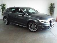 2015 15 AUDI A3 2.0 TDI S LINE 5D AUTO 148 BHP SAT NAV FULL LEATHERS NOW IN STOC