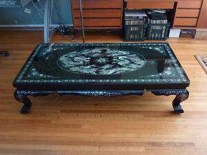 Mother of Pearl Black Lacquer Coffee Table