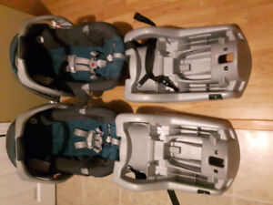 2 Graco Classic Connect car seats and bases with stroller.
