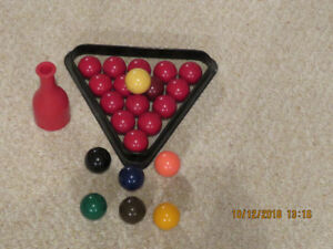 """Snooker"" billiard balls,rack, ""Pea Pool"" shaker and peas"
