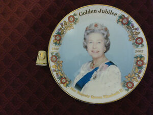 Elizabeth II  Gold Jubilee 1952-2002 Collector Plate and Thimble