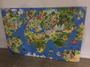 Kids iconic world map on Canvas stretched