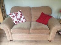 Cream fabric sofa and 2 arm chairs