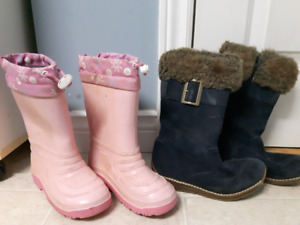 Size 11 Girls Fall/Winter Lined Rain Boots & soft boots. $15 all