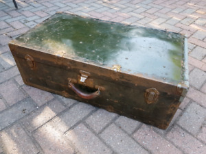 Antique trunk/large suit case with leather handle