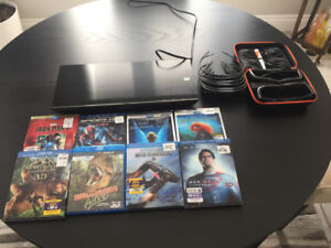 Sony Blu-ray 3D Player + 8 Lunettes/Glasses + 8 Films 3D