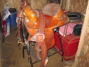 16inch western saddle, bridle, chest strap,