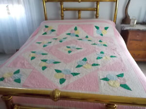 Vintage Hand Made Quilt with intricate detail