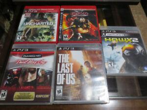 5 jeux pour PS3, 10$ chaque 45$ pour les 5.