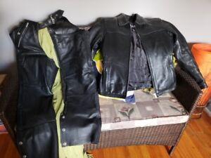 pantalon et manteau cuir moto pour femme