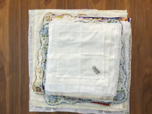 Vintage handkerchiefs and scarves (1930 - 60s) never used