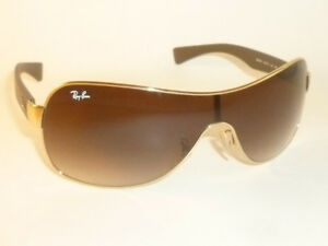 166d518f443d New RAY BAN Shield Sunglasses Gold Frame RB 3471 001 13 Gradient Brown