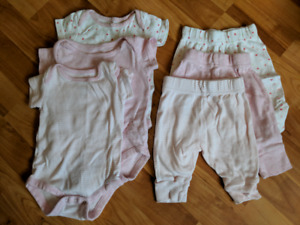 3 matching onesies and pant sets