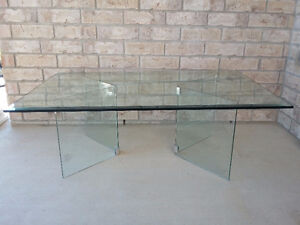 Large beveled glass top with glass base coffee table for sale London Ontario image 2