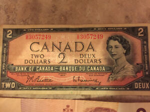 Old Canadian $2 Bills BEST OFFER for all