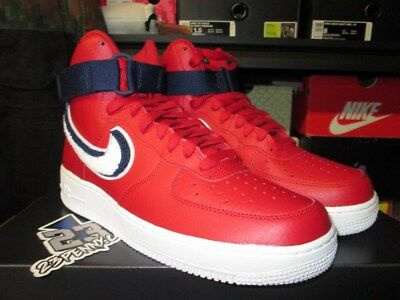 SALE NIKE AIR FORCE 1 HIGH '07 LV8 GYM RED WHITE BLUE VOID WHITE 806403 603