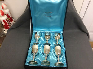 WM A RogersSilver Plated Wine Goblets