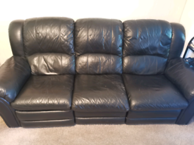 2x 3 seater reclining leather sofas