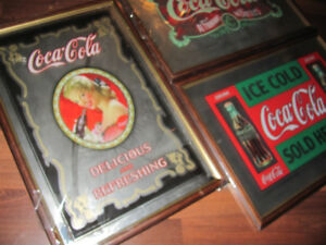 """3 Coca Cola Coke Bar Mirrors each approximately 25"""" x 17"""" 1990's"""