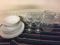 Glass dishes and wine glasses