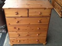 Pine set of two over four drawers