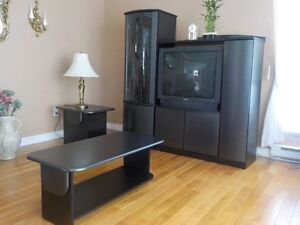 TV STAND DARK GREY IN COLOR, END TABLE AND MIDDLE FLOOR TABLE