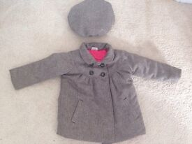 Tweed coat and hat from mini club boots 12/18 months