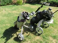 golf clubs and caddy
