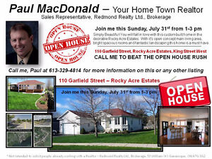 OPEN HOUSE SUNDAY JULY 31 Rocky Acre Estates, Gananoque