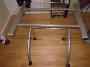 Glass Table on casters for laptop or computer keyboard