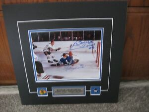 JOHNNY BOWER Stops BOBBY HULL'S Shot Autographed Photo