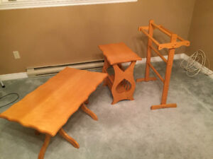 Handmade coffee table, end table and quilt rack
