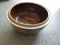 """Outdoor/Indoor ceramic planter, 8""""x3"""" round"""