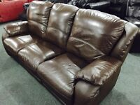 As new brown leather 3 seater sofa