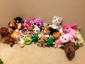 Assorted stuffed animals including beanie boos