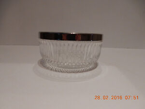 crystal dish with silver plate rim