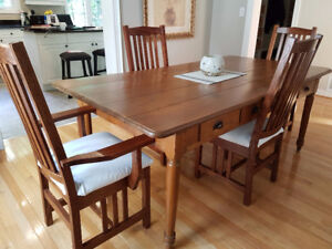 Antique Harvest Table With Chairs