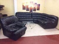 Black Leather Corner Sofa Suite