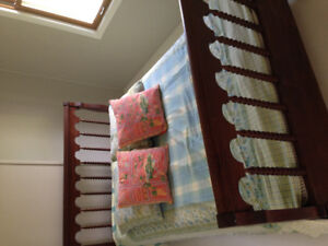 Antique spool bed and mattress