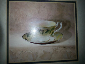 Beautiful matching pair of tea cup signed prints Belleville Belleville Area image 3